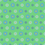 Cornflower Blue Field.Seamless Pattern. Cornflower blue and dark blue on a green background. Summer floral  illustration Stock Image