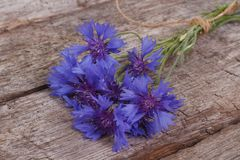 Cornflower blue wild flowers on an old wooden Royalty Free Stock Images
