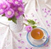 Cornflower tea with bouquet Royalty Free Stock Photo