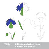 Cornflower to be colored. Vector trace game. Stock Photos