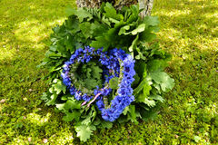 Cornflower wreathes and oak wreath. A beautiful cornflower wreath is put on an apple tree branch Royalty Free Stock Photos