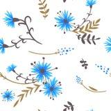 cornflowers картина безшовная Стоковое фото RF