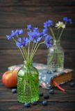 Cornflowers in bottle Stock Photo