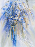 Cornflowers and camomiles watercolor. Cornflowers and camomiles in the glass vase watercolor Royalty Free Stock Image