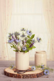 Cornflowers In Ceramic Pots Royalty Free Stock Images