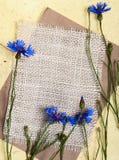 Cornflowers con tela di canapa Fotografie Stock