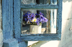 Cornflowers flowers in an old house window. A simple bouquet of cornflowers and daisies on an old old farmhouse window Royalty Free Stock Image