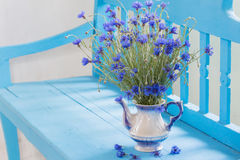 Cornflowers in vase on  bench Stock Images