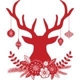 Corni dei cervi di Natale con i fiori, collezioni della palla di Natale illustrazione vettoriale