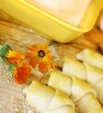 Corni deliziosi con la crema del dado Fotografia Stock
