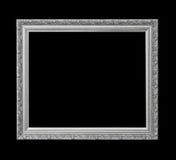 Cornice antica d'argento per pittura a olio isolata sul nero Fotografie Stock