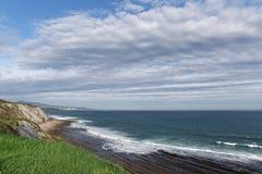 Cliffs of the Basque Cornice. Cornice of the Basque coast stock photo