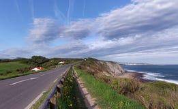 Coastal road in the Basque Cornice. Cornice of the Basque coast stock photos