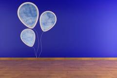 Cornice bianca sulla parete blu Fotografia Stock
