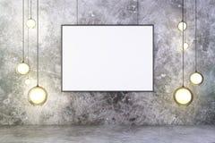 Cornice in bianco con le lampadine e muro di cemento e pavimento, royalty illustrazione gratis