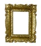 Cornice d'annata del vecchio oro isolata su bianco Fotografia Stock