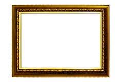 Cornice d'annata isolata su fondo bianco, struttura di legno vuota fotografie stock