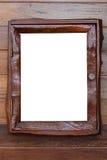 Cornice d'annata, legno placcato, fondo bianco, p di taglio fotografia stock
