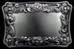 Cornice d'argento antica con un modello decorativo Fotografia Stock