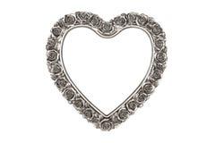 Cornice d'argento del cuore Fotografia Stock