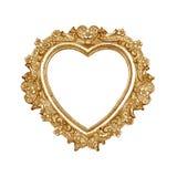 Cornice del cuore del vecchio oro immagini stock libere da diritti