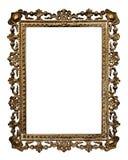 Cornice del vecchio oro, isolata su fondo bianco immagine stock libera da diritti