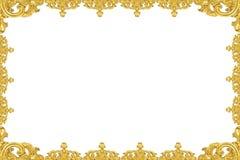 Cornice dell'oro dell'annata isolata su priorità bassa bianca Fotografie Stock Libere da Diritti