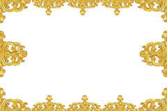 Cornice dell'oro dell'annata isolata su priorità bassa bianca Immagini Stock Libere da Diritti