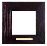 Cornice di legno nera quadrata con il piatto d'ottone Immagine Stock