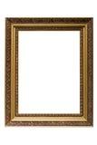 Cornice di legno placcata oro vuoto isolata Immagini Stock Libere da Diritti