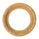 Cornice di legno senza cuciture rotonda isolata su fondo bianco Fotografie Stock