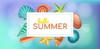 Cornice di testo di estate con le coperture e le stelle marine illustrazione di stock