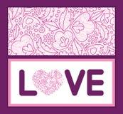 Cornice di testo rosa di amore del lineart dei fiori di vettore Fotografia Stock