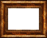 Cornice dorata scura rustica antica isolata Fotografia Stock