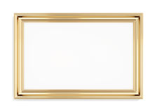 Cornice rettangolare dell'oro su un fondo bianco rappresentazione 3d Immagini Stock