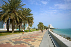 The Corniche. Is a place to walk and enjoy the Doha city scene Royalty Free Stock Images