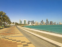 The Corniche. The famous Corniche road in Doha Stock Image