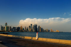 Corniche area of West Bay, Doha, Qatar Stock Images