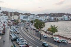 Corniche em Muttrah no crepúsculo, Muscat, Omã fotos de stock royalty free