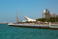 Corniche embankment in Abu Dhabi, United Arab Emirates. Corniche embankment in Abu Dhabi in United Arab Emirates stock photography