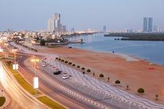 Corniche i Ras Al Khaimah Arkivfoto
