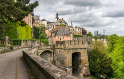 Corniche, Luxembourg. Beautiful buildings on the Corniche, Luxembourg City Stock Photography