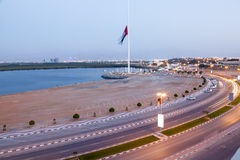 Corniche in Ras al Khaimah at dusk Royalty Free Stock Image