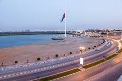 Corniche in Ras al Khaimah at dusk Royalty Free Stock Image