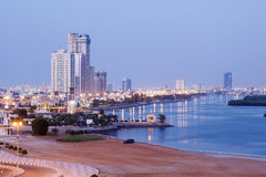 Corniche in Ras al Khaimah at dusk Stock Photo