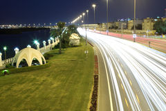 Corniche road at night in Abu Dhabi Royalty Free Stock Photo