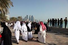 Corniche van Doha, Qatar Royalty-vrije Stock Afbeeldingen
