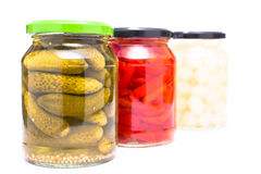 Cornichons, paprika and onions in glass pickled Royalty Free Stock Photo