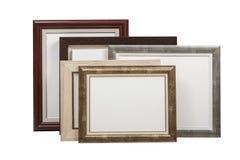 Cornici di legno con tela in bianco con il percorso di ritaglio Fotografia Stock