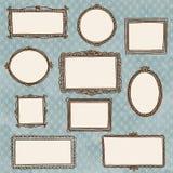 Cornici disegnate a mano di scarabocchio sulla carta da parati Fotografie Stock